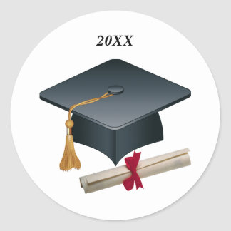 Sello de la graduación del mortero y del diploma pegatina redonda