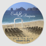 Sello de la invitación - boda de playa del pegatina redonda