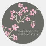Sello de la invitación del boda de la flor de cere etiquetas