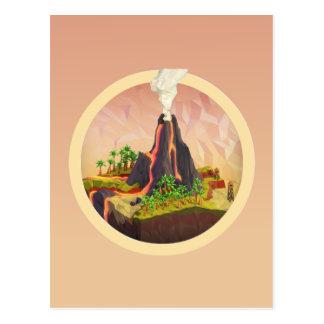 Sello de la isla volcánica tarjetas postales