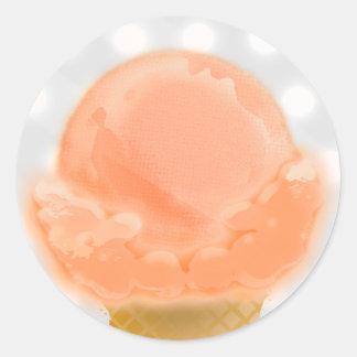 Sello de la letra del helado - pegatina redonda