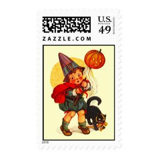 Sello de la linterna de Halloween JOL del vintage