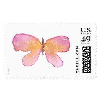 Sello de la mariposa de la acuarela - rosa y naran