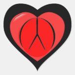 Sello de la paz pegatina corazon personalizadas