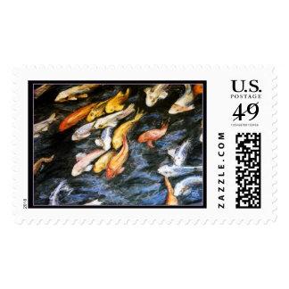 Sello de la pintura de los pescados de Koi