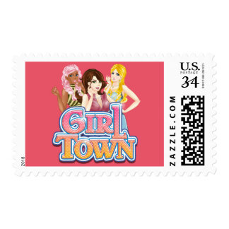 Sello de la postal de la ciudad del chica
