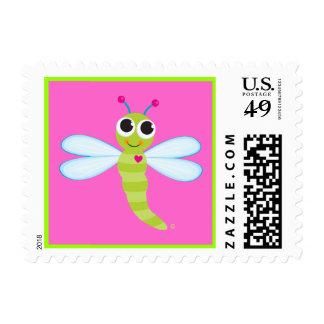 Sello de la postal de la libélula