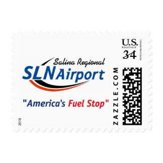 Sello de la postal de la parada del combustible de