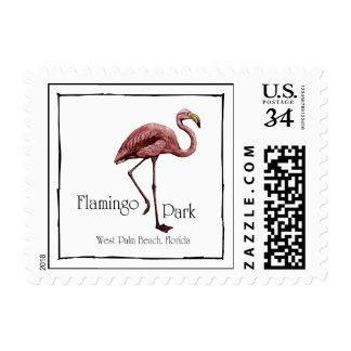 Sello de la postal del parque del flamenco
