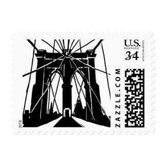 Sello de la postal del puente de Brooklyn