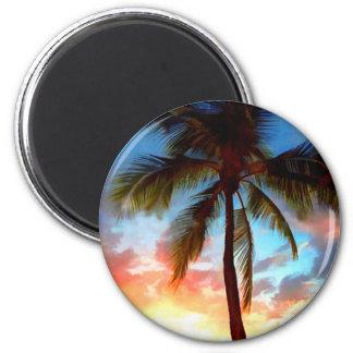 Sello de la puesta del sol de la palmera imán de frigorifico