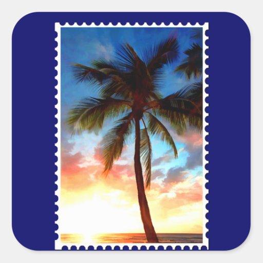 Sello de la puesta del sol de la palmera pegatina cuadrada