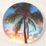 Sello de la puesta del sol de la palmera posavaso para bebida