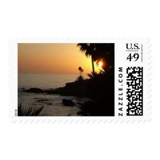 Sello de la puesta del sol del océano del Laguna B