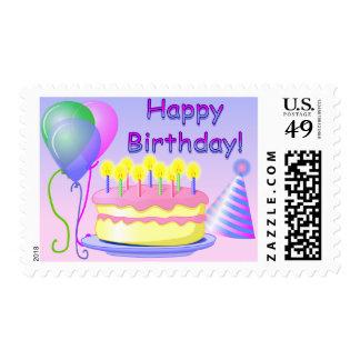 Sello de la torta del feliz cumpleaños