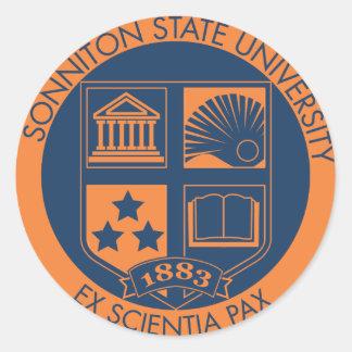 Sello de la universidad de estado de Sonniton - Pegatina Redonda