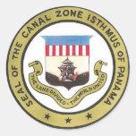 SELLO DE LA ZONA DEL CANAL DE PANAMÁ PEGATINA REDONDA