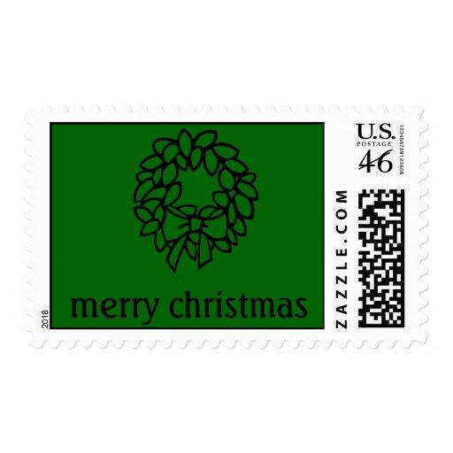 sello de las Felices Navidad con la guirnalda