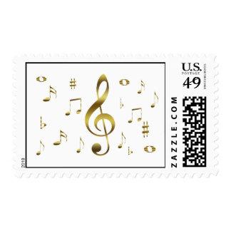 Sello de las notas musicales del oro