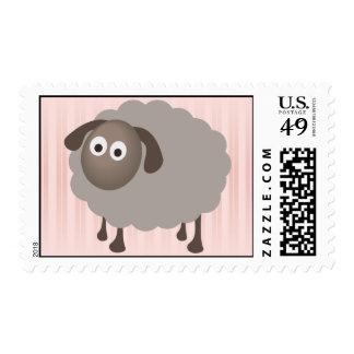 Sello de las ovejas con la raya rosada