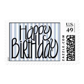 Sello de las rayas azules del feliz cumpleaños
