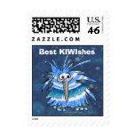 Sello de las rayas azules del kiwi del dibujo anim