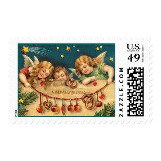 Sello de los ángeles del navidad del vintage