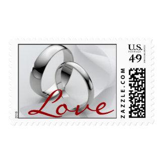 Sello de los anillos de bodas del platino