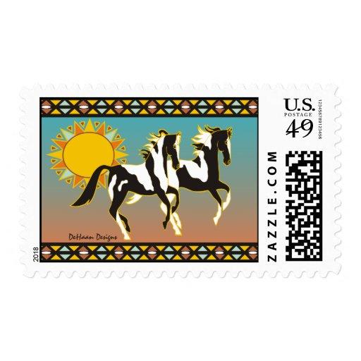 Sello de los caballos de la pintura del desierto