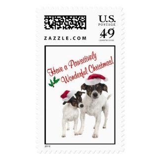 Sello de los deseos del navidad del fox terrier