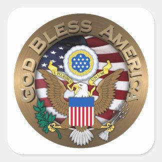 Sello de los Estados Unidos de América - dios bend Colcomanias Cuadradass