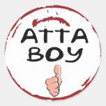 Sello de los pegatinas del muchacho de Atta de la Etiquetas Redondas