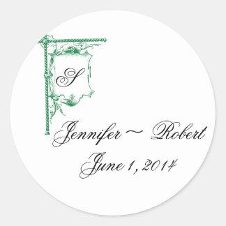 Sello de lujo verde del sobre del boda del pegatina redonda