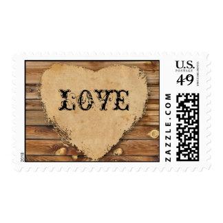 Sello de madera hecho andrajos del amor de la mira
