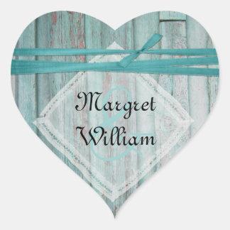 Sello de madera pintado turquesa lamentable del pegatina de corazón personalizadas