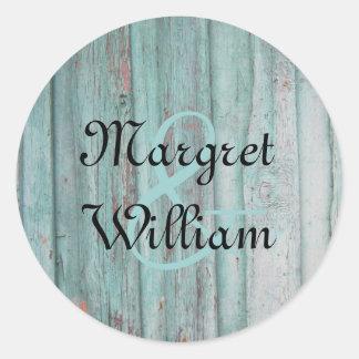 Sello de madera pintado turquesa rústica del sobre pegatina redonda