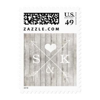 Sello de madera rústico de las iniciales de las fl