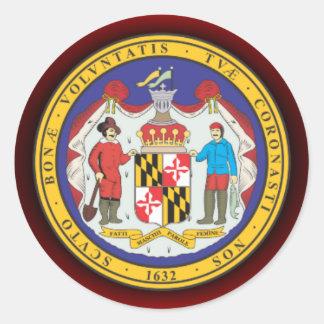 Sello de Maryland Pegatina Redonda