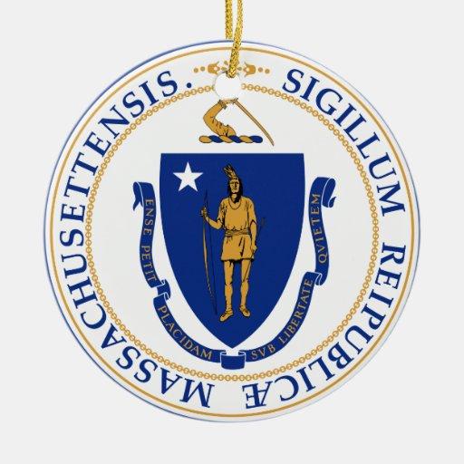 Sello de Massachusetts Adorno Redondo De Cerámica
