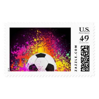 Sello de neón colorido del balón de fútbol
