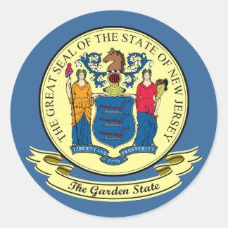 Sello de New Jersey Pegatina Redonda