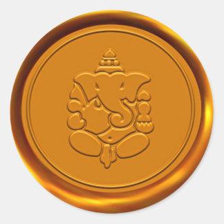 Sello de oro de la cera de Ganesha Pegatina Redonda