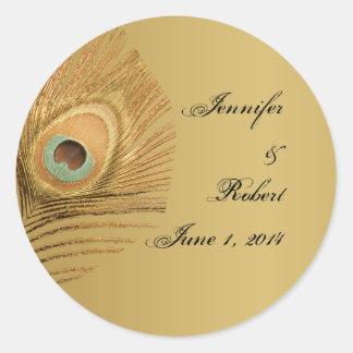 Sello de oro del sobre del pavo real pegatinas redondas