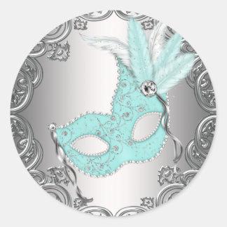 Sello de plata azul Fav del sobre de la mascarada Etiqueta Redonda