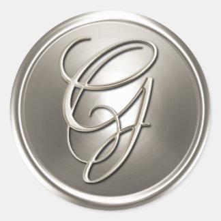 Sello de plata del sobre de G del monograma Pegatina Redonda