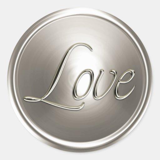 Sello de plata del sobre del amor etiqueta redonda