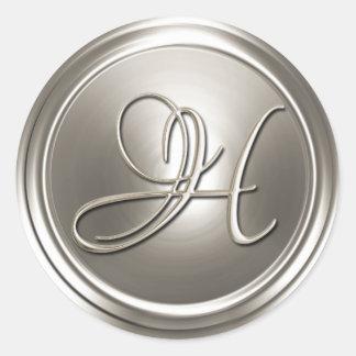Sello de plata del sobre del monograma H Pegatina Redonda