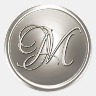 Sello de plata del sobre del monograma M Pegatina Redonda