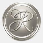 Sello de plata del sobre del monograma R Etiquetas Redondas