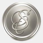 Sello de plata del sobre del monograma S Pegatina Redonda